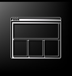 Web window sign gray 3d printed icon on vector