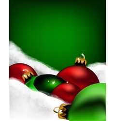 Xmas greeting card Christmas red and green toys vector image vector image