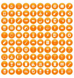 100 cafe icons set orange vector