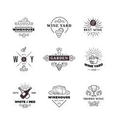 Hipster wine making grape labels logos vector image