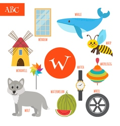 Letter w cartoon alphabet for children watermelon vector