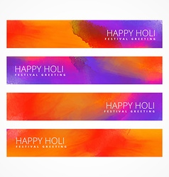 Colorful holi banners set vector