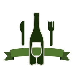 Bottle wine and goblet with cutlery vector