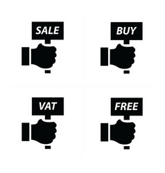 Hand price and tag set vector