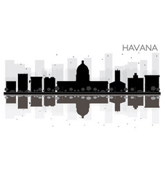 havana city skyline black and white silhouette vector image