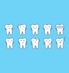 funny teeth icons set of doodle cartoon vector image