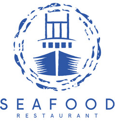Concept of seafood restaurant with ship vector