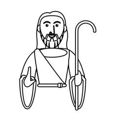 Jesus christ catholic symbol outline vector