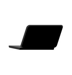 open black laptop back isolated notebook pc vector image