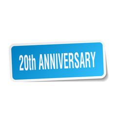 20th anniversary square sticker on white vector