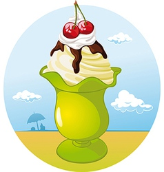Ice cream cup - holiday refreshing vector