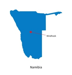 Detailed map of namibia and capital city windhoek vector