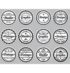 Set nice old fashioned icon vector