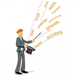 Businessman showing magic vector