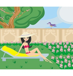 Relax in the garden vector
