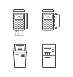 Banking terminal line style icon set vector