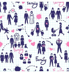 Family seamless pattern vector