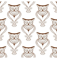 Cute owls retro seamless pattern vector