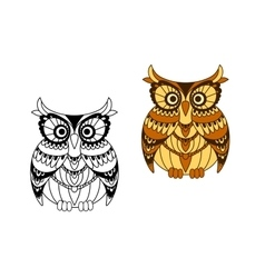 Funny brown owl with mottled feathers vector