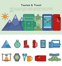 Set of flat icons recreational tourism vector