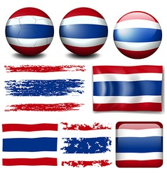 Thailand flag on different items vector