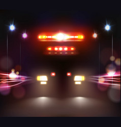 Ambulance in night composition vector