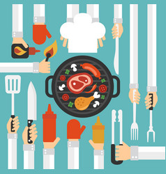 Barbecue and grill concept design flat vector
