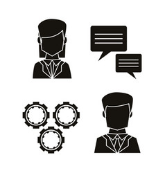 Black silhouettes of icons set communication vector