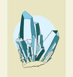 Blue crystals on a beige background eps 8 vector