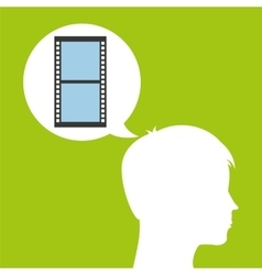 Camera film roll silhouette head think movie vector