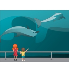 children in the oceanarium vector image