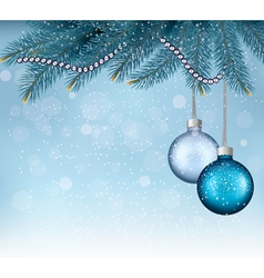 Christmas background with balls and branches vector image vector image