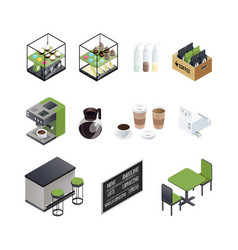 coffee house elements set vector image vector image