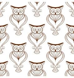 Cute owls retro seamless pattern vector