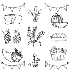 Doodle of fruit thanksgiving set vector