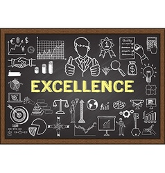 Excellence on chalkboard vector