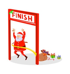 Father christmas santa claus finishing race vector