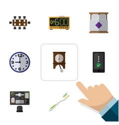 Flat icon lifestyle set of clock electric alarm vector