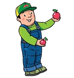 Funy farmer or gardener with apples vector image