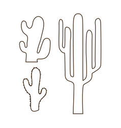 hand drawn outline cactus set vector image vector image