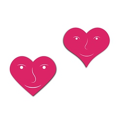 hearts with face vector image