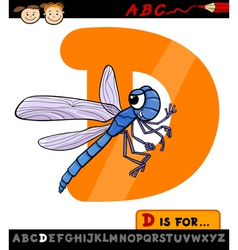 Letter d with dragonfly cartoon vector