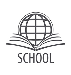 logo open book and globe vector image