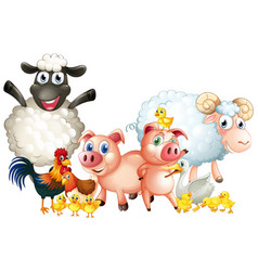 many types of farm animals vector image