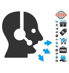 Operator speak icon with free bonus vector