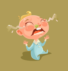 Sad unhappy naughty little child character vector