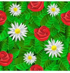 seamless pattern with leaves daisies and roses vector image vector image