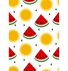 Watermelon and sun seamless background vector
