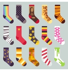Textile colorful child warm socks set vector