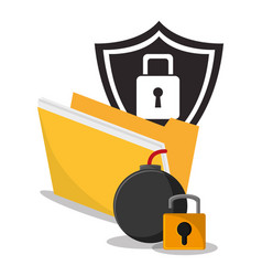 Cyber secuirty protection padlock folder vector